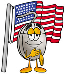 Clip Art Graphic of a Wired Computer Mouse Cartoon Character Pledging Allegiance to an American Flag