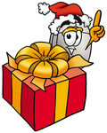 Clip Art Graphic of a Wired Computer Mouse Cartoon Character Standing by a Christmas Present