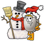 Clip Art Graphic of a Wired Computer Mouse Cartoon Character With a Snowman on Christmas