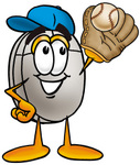 Clip Art Graphic of a Wired Computer Mouse Cartoon Character Catching a Baseball With a Glove