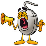 Clip Art Graphic of a Wired Computer Mouse Cartoon Character Screaming Into a Megaphone