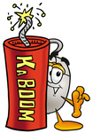 Clip Art Graphic of a Wired Computer Mouse Cartoon Character Standing With a Lit Stick of Dynamite
