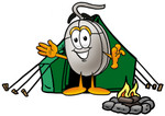 Clip Art Graphic of a Wired Computer Mouse Cartoon Character Camping With a Tent and Fire