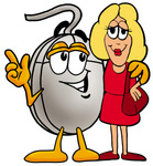 Clip Art Graphic of a Wired Computer Mouse Cartoon Character Talking to a Pretty Blond Woman