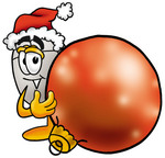 Clip Art Graphic of a Wired Computer Mouse Cartoon Character Wearing a Santa Hat, Standing With a Christmas Bauble