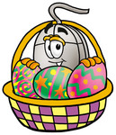 Clip Art Graphic of a Wired Computer Mouse Cartoon Character in an Easter Basket Full of Decorated Easter Eggs