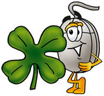 Clip Art Graphic of a Wired Computer Mouse Cartoon Character With a Green Four Leaf Clover on St Paddy's or St Patricks Day