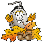 Clip Art Graphic of a Wired Computer Mouse Cartoon Character With Autumn Leaves and Acorns in the Fall