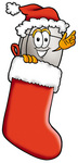 Clip Art Graphic of a Wired Computer Mouse Cartoon Character Wearing a Santa Hat Inside a Red Christmas Stocking