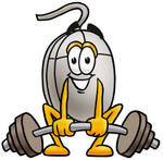 Clip Art Graphic of a Wired Computer Mouse Cartoon Character Lifting a Heavy Barbell
