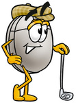 Clip Art Graphic of a Wired Computer Mouse Cartoon Character Leaning on a Golf Club While Golfing