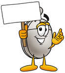 Clip Art Graphic of a Wired Computer Mouse Cartoon Character Holding a Blank Sign