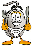 Clip Art Graphic of a Wired Computer Mouse Cartoon Character Holding a Knife and Fork