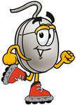 Clip Art Graphic of a Wired Computer Mouse Cartoon Character Roller Blading on Inline Skates