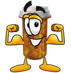 Clip Art Graphic of a Medication Prescription Pill Bottle Cartoon Character Flexing His Arm Muscles
