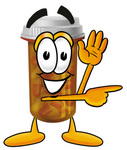 Clip Art Graphic of a Medication Prescription Pill Bottle Cartoon Character Waving and Pointing