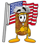 Clip Art Graphic of a Medication Prescription Pill Bottle Cartoon Character Pledging Allegiance to an American Flag
