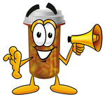 Clip Art Graphic of a Medication Prescription Pill Bottle Cartoon Character Holding a Megaphone