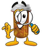 Clip Art Graphic of a Medication Prescription Pill Bottle Cartoon Character Looking Through a Magnifying Glass