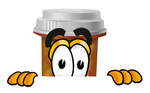 Clip Art Graphic of a Medication Prescription Pill Bottle Cartoon Character Peeking Over a Surface