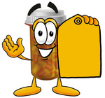 Clip Art Graphic of a Medication Prescription Pill Bottle Cartoon Character Holding a Yellow Sales Price Tag
