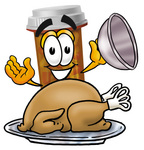Clip Art Graphic of a Medication Prescription Pill Bottle Cartoon Character Serving a Thanksgiving Turkey on a Platter