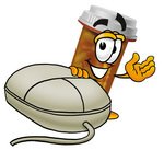 Clip Art Graphic of a Medication Prescription Pill Bottle Cartoon Character With a Computer Mouse