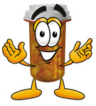 Clip Art Graphic of a Medication Prescription Pill Bottle Cartoon Character With Welcoming Open Arms