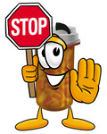 Clip Art Graphic of a Medication Prescription Pill Bottle Cartoon Character Holding a Stop Sign
