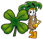 Clip Art Graphic of a Tropical Palm Tree Cartoon Character With a Green Four Leaf Clover on St Paddy's or St Patricks Day