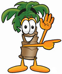 Clip Art Graphic of a Tropical Palm Tree Cartoon Character Waving and Pointing