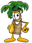 Clip Art Graphic of a Tropical Palm Tree Cartoon Character Pointing at the Viewer