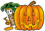 Clip Art Graphic of a Tropical Palm Tree Cartoon Character With a Carved Halloween Pumpkin