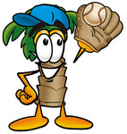Clip Art Graphic of a Tropical Palm Tree Cartoon Character Catching a Baseball With a Glove