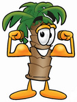 Clip Art Graphic of a Tropical Palm Tree Cartoon Character Flexing His Arm Muscles