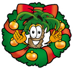 Clip Art Graphic of a Tropical Palm Tree Cartoon Character in the Center of a Christmas Wreath
