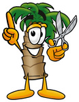 Clip Art Graphic of a Tropical Palm Tree Cartoon Character Holding a Pair of Scissors