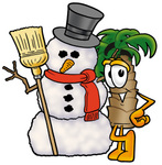 Clip Art Graphic of a Tropical Palm Tree Cartoon Character With a Snowman on Christmas