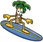 Clip Art Graphic of a Tropical Palm Tree Cartoon Character Surfing on a Blue and Yellow Surfboard
