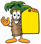 Clip Art Graphic of a Tropical Palm Tree Cartoon Character Holding a Yellow Sales Price Tag