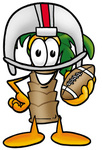 Clip Art Graphic of a Tropical Palm Tree Cartoon Character in a Helmet, Holding a Football