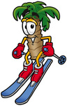 Clip Art Graphic of a Tropical Palm Tree Cartoon Character Skiing Downhill