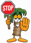 Clip Art Graphic of a Tropical Palm Tree Cartoon Character Holding a Stop Sign