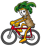 Clip Art Graphic of a Tropical Palm Tree Cartoon Character Riding a Bicycle