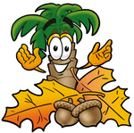 Clip Art Graphic of a Tropical Palm Tree Cartoon Character With Autumn Leaves and Acorns in the Fall