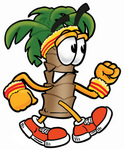 Clip Art Graphic of a Tropical Palm Tree Cartoon Character Speed Walking or Jogging