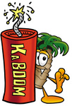 Clip Art Graphic of a Tropical Palm Tree Cartoon Character Standing With a Lit Stick of Dynamite
