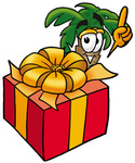 Clip Art Graphic of a Tropical Palm Tree Cartoon Character Standing by a Christmas Present