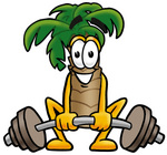 Clip Art Graphic of a Tropical Palm Tree Cartoon Character Lifting a Heavy Barbell