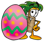 Clip Art Graphic of a Tropical Palm Tree Cartoon Character Standing Beside an Easter Egg